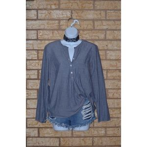 Chambray Denim 3 Button Up Long Sleeve